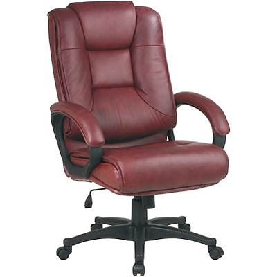 Office Star™ High-Back Leather Executive Chair; Brown