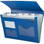 Quill Brand® Poly Expanding File (13 Pockets) with Flap and Elastic Cord Closure, Letter, Blue, Each