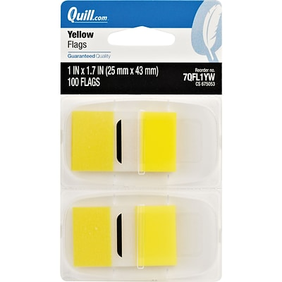 Quill Brand® Flags with Dispenser; 1, Yellow