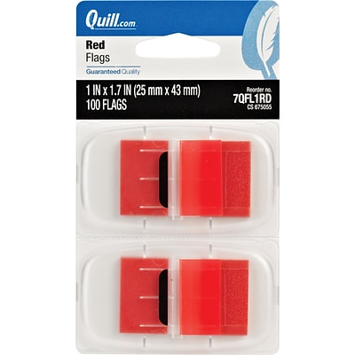 Quill Brand® Flags with Dispenser; 1, Red