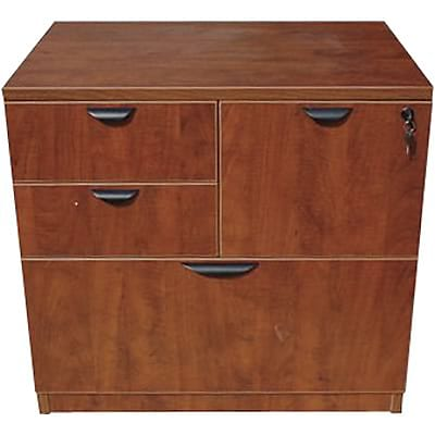 Boss Laminate Collection 4-Drawer Combo Lateral File Cabinet; Cherry, Letter/Legal (N114-C)