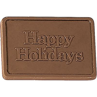 Chocolate Inn® Chocolate Business Card & Holder; Milk Chocolate, Happy Holidays Greeting, Gold Box