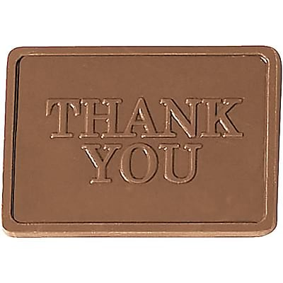 Chocolate Inn® Chocolate Business Card & Holder; Milk Chocolate, Thank You Greeting, Silver Box
