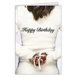 Medical Arts Press® Birthday Greeting Cards; Happy Birthday Woman with Present,  Personalized