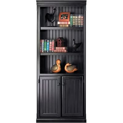 Martin Furniture Southhampton Cottage Collection in Black Onyx; Lower Door Bookcase