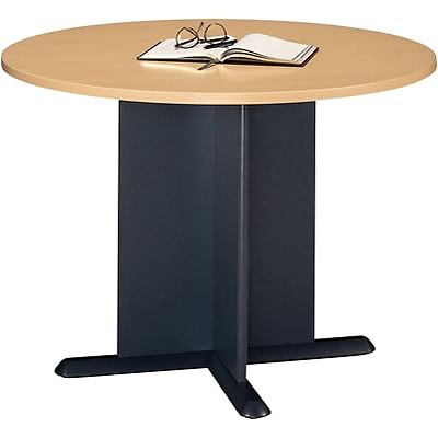 Bush Business Westfield 42W Round Conference Table, Euro Beech/Graphite Gray, Installed
