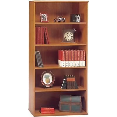 Bush® Corsa Collection in Natural Cherry Finish; Open Double Bookcase, Ready to Assemble