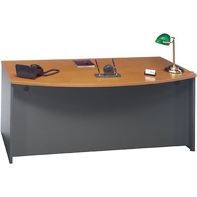 Bush® Westfield Collection in Natural Cherry Finish, Bow Front Executive Desk, Ready to Assemble