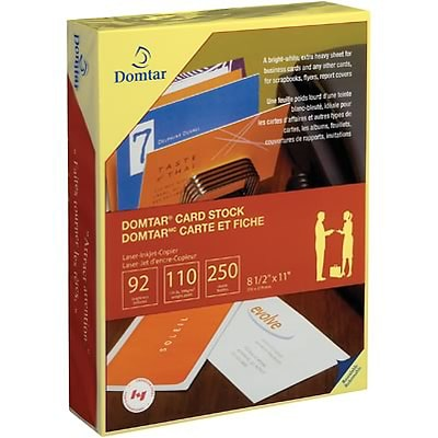 Domtar® 110 lb. Card Stock, Canary Yellow, 8-1/2x11, 250 Sheets per Pack