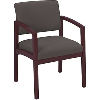 Lesro Lenox Series Reception Furniture in Mahogany Finish with Grey Fabric; Guest Chair with Arms