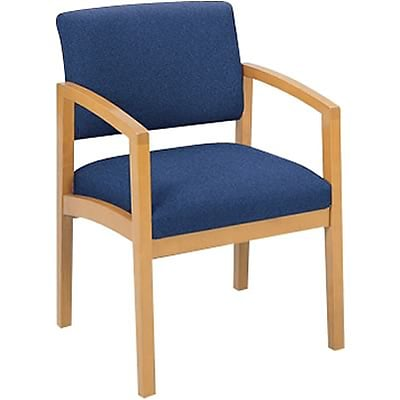 Lesro Lenox Series Reception Furniture in Oak Finish with Navy Fabric; Guest Chair with Arms