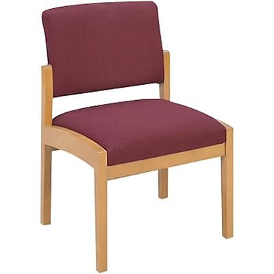 Lesro Lenox Series Reception Furniture in Oak Finish with Burgundy Fabric; Guest Chair without Arms