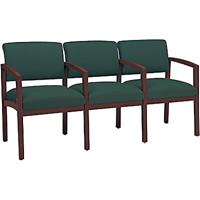 Lesro Lenox Series Reception Furniture in Mahogany Finish with Hunter Fabric; 3-Seats with Arms