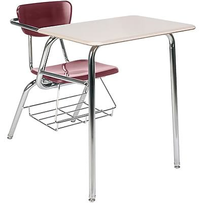 Virco® Desk with Large Writing Surface; Burgundy