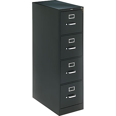 HON® 320 Series Vertical File, 4-Drawer, Letter, Black