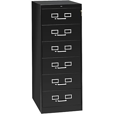 6-Drawer Multimedia Cabinet For 6 x 9 Cards; Black; 32,600 Card Capacity; 52Hx21-1/4Wx28-1/2D