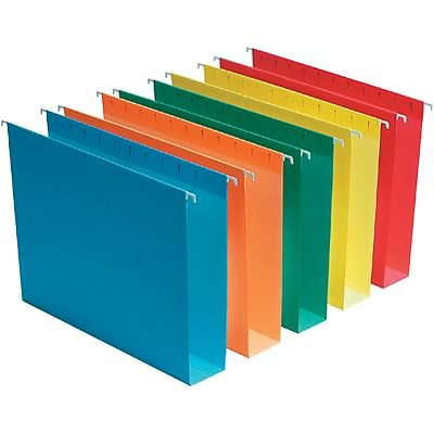Quill Brand® Reinforced 5-Tab Box Bottom Hanging File Folders with 2 Expansion, Letter, Assorted, 25/Bx (730053AD)