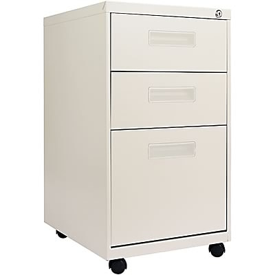 Alera® 3-Drawer Mobile Pedestal File Cabinet with Recessed Pulls, Putty, Legal (PA532820PY)