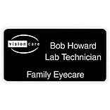 Engraved Identification Badges; 1-3/8x2-3/4, Black with White Letters
