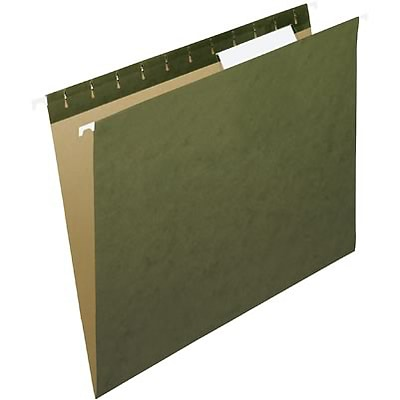 Quill Brand® 100% Recycled Premium Reinforced 3-Tab Hanging File Folders, Letter, Standard Green, 25/Bx (76213P)