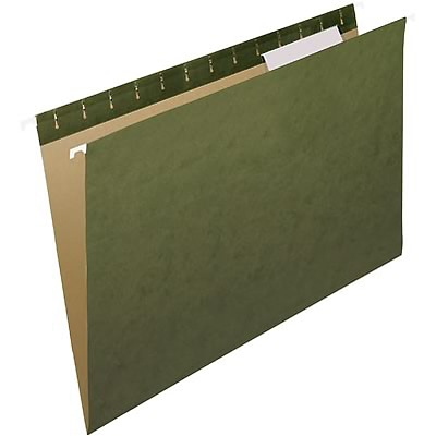 Quill Brand® Premium Reinforced 100% Recycled Hanging File Folders, 1/3-Cut, Legal Size, Green, 25/Box (76313P)