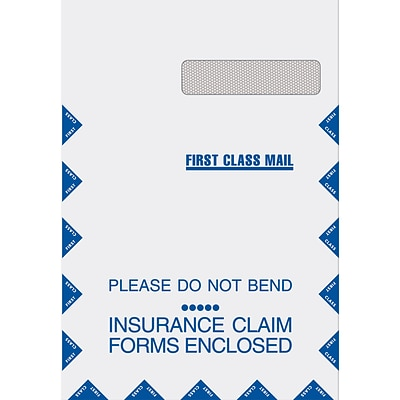 Medical Arts Press® Jumbo 9Wx13H Claim Window Envelopes, Grip-seal, Right Window, 100/Box