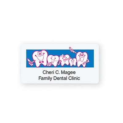 Custom Printed Medical Arts Press® Dental Designer Name Badges; Tooth Family