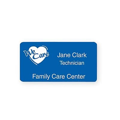 Engraved Identification Badges; 1-3/8x2-3/4, Blue with White Letters