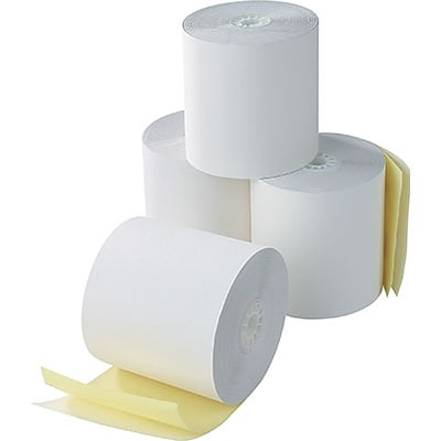 Quill Brand® Cash Register Rolls Carbonless 2-Ply White/Canary; 2-1/4x100, Full Carton