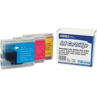 Quill Brand Compatible Brother® MFC240C (LC51CL) (LC51CL3PK) Tri-Color Ink (3 cart per pack) (100% Satisfaction Guaranteed)