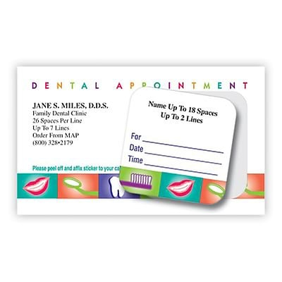 medical arts press dual imprint peel off sticker appointment cards dental appointment - Dental Appointment Cards