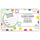 Medical Arts Press® Dual-Imprint Peel-Off Sticker Appointment Cards; Teeth and Dots