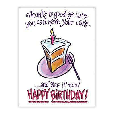 Medical Arts Press® Eye Care Laser Postcards; Birthday Cake, Thanks to Good Eyecare