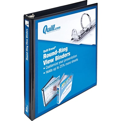 Quill Brand® 1 Round Ring View Binder; 3-Ring, Black