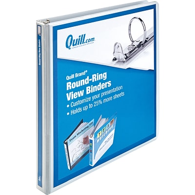 Quill Brand® 1/2 Round Ring Binder; View, White, 3-Ring