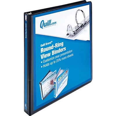 Quill Brand® 1/2 Round Ring Binder; View, Black, 3-Ring