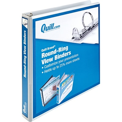 Quill Brand® 1 Round Ring View Binder; 3-Ring, White