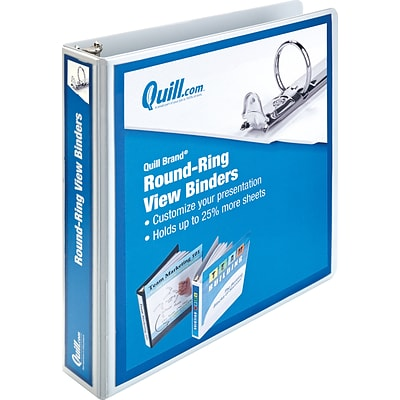 Quill Brand® 1-1/2 Round Ring Binder; View, White, 3-Ring