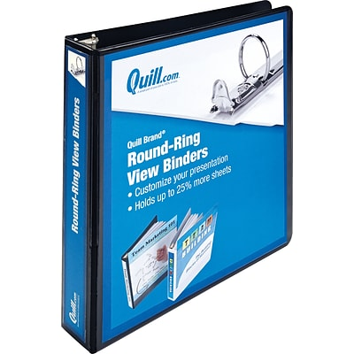 Quill Brand® 1-1/2 Round Ring Binder; View, Black, 3-Ring
