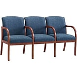 Lesro Weston Reception Room Furniture Collection in Deluxe Fabric; 3-Seat Sofa with Center Arms