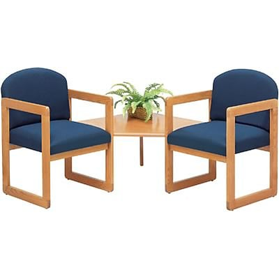 Lesro Classic Series Round Back Collection in Standard Fabric; Two Chairs with Corner Table