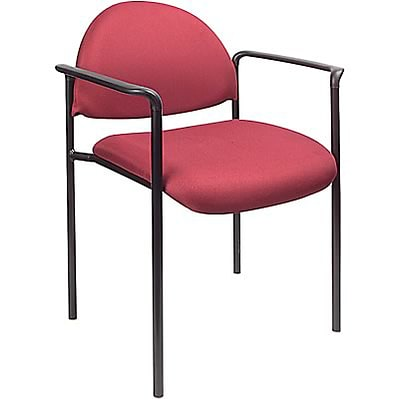 Boss® B9501 Series Fabric Stacking Chairs With Arms; Burgundy