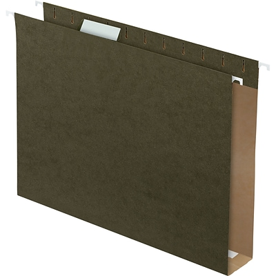 Quill Brand® Reinforced 5-Tab Box Bottom Hanging File Folders with 1 Expansion, Letter, Dark Green, 25/Bx (730050)