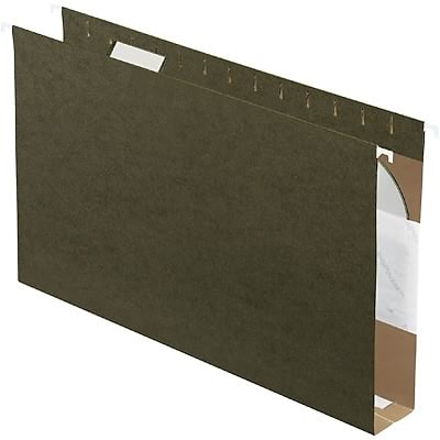 Quill Brand® Reinforced 5-Tab Box Bottom Hanging File Folders with 2 Expansion, Legal, Dark Green, 25/Bx (730055)