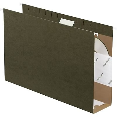 Quill Brand® Reinforced 5-Tab Box Bottom Hanging File Folders with 3 Expansion, Legal, Dark Green, 25/Bx (730056)