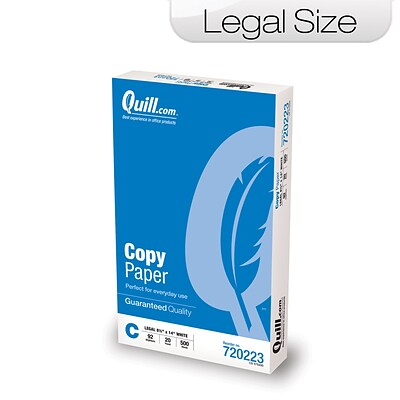 Quill Brand® Copy Paper; 8-1/2 x 14, Legal Size, 10 Reams/Carton