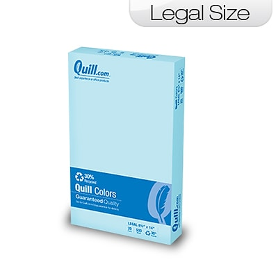 Quill Brand Colored Paper; 8-1/2x14, Legal Size, Blue, 500 sheets