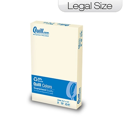 Quill Brand Colored Paper; 8-1/2x14, Legal Size, Ivory, 500 sheets