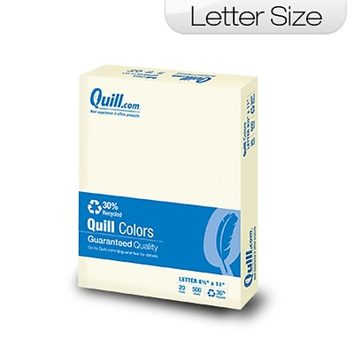 Quill Brand Colored Paper; 8-1/2x11, Letter Size, Ivory, 500 sheets