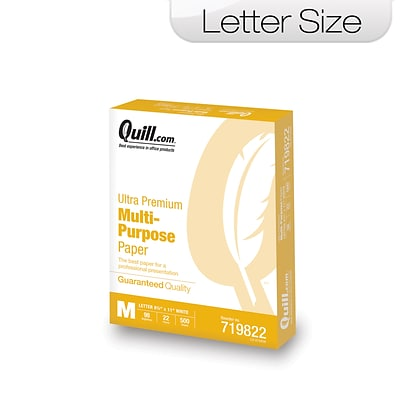 Quill Brand® Ultra White Multipurpose Paper;8-1/2 x 11, 98 Bright, 22 LB, 500 sheets